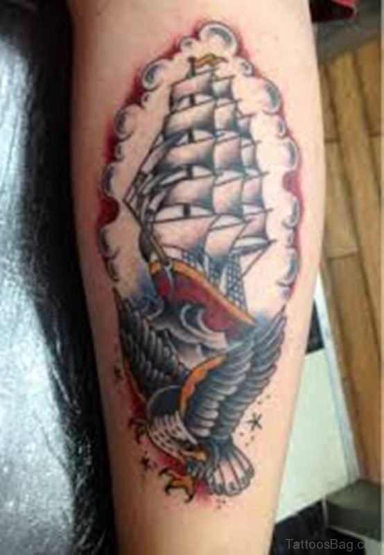 Ship And Eagle Tattoo