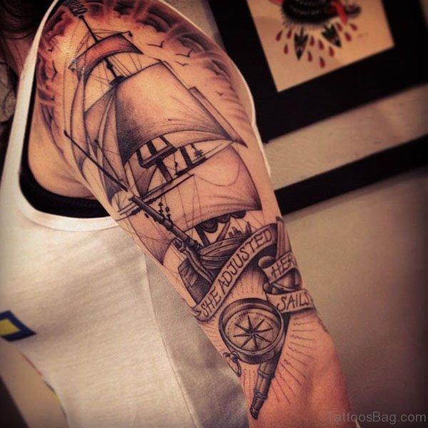 Ship Tattoo Design On Shoulder