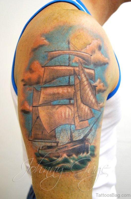 Ship Tattoo On Shoulder