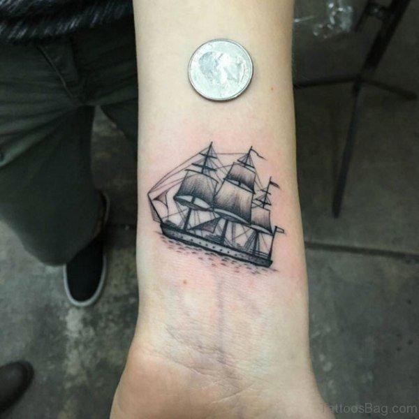 Ship Tattoo On Wrist