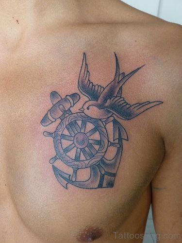 Ship Wheel Tattoo On Chest