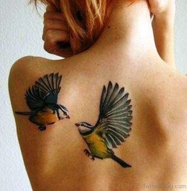 Shoulder Blade Birds Tattoo