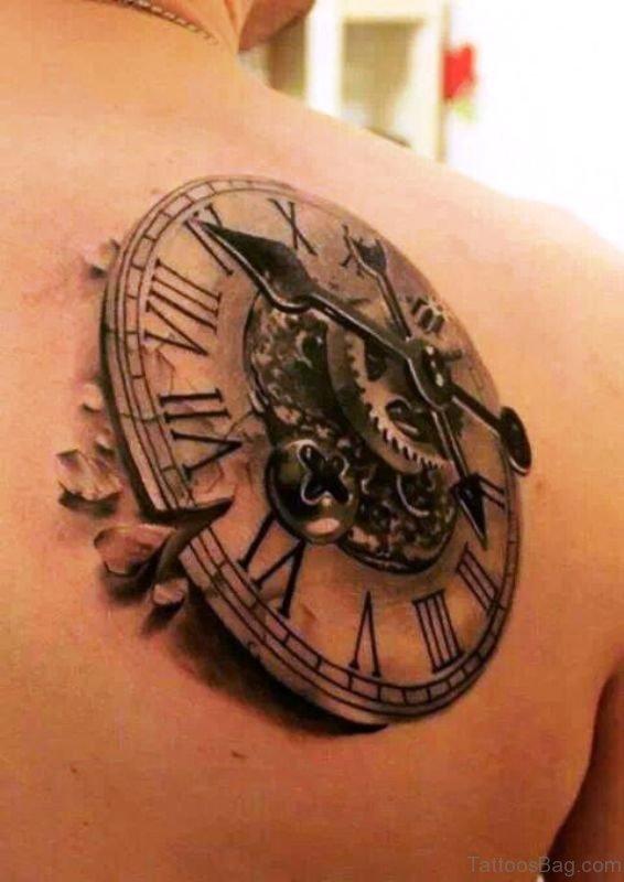 Shoulder Clock Tattoo Design
