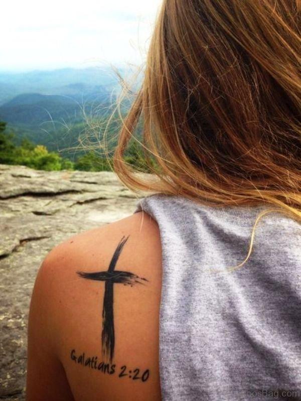 Shoulder Cross Tattoo Design