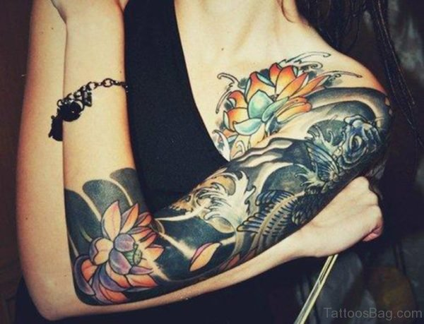 Shoulder Sleeves Tattoo For Women