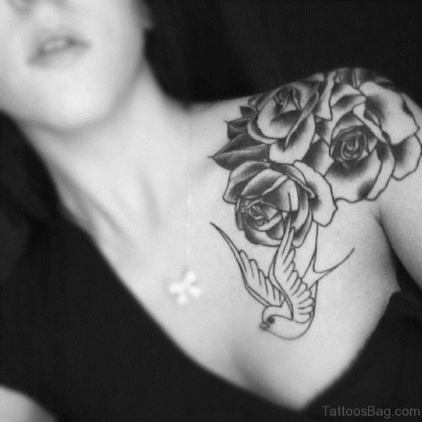 Shoulder White And Black Tattoo For Women