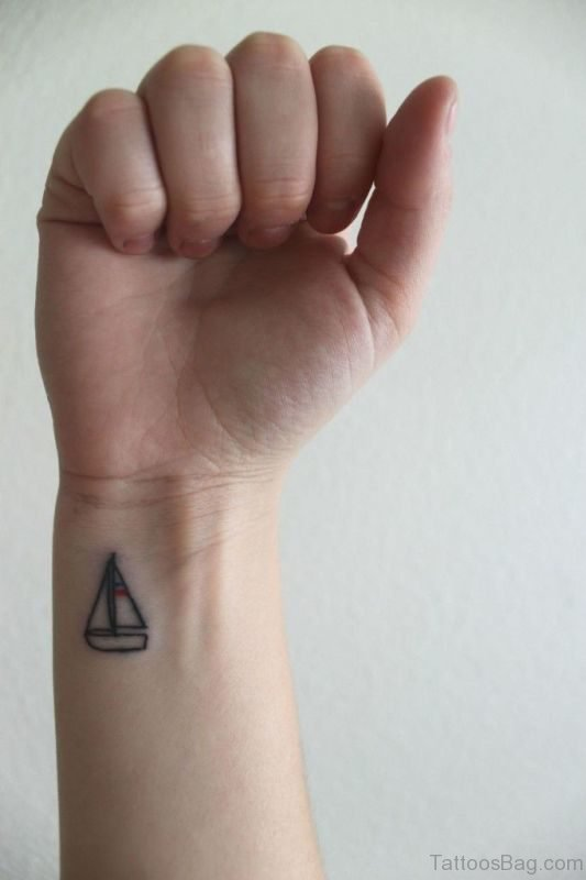 Simple Boat Tattoo On Wrist