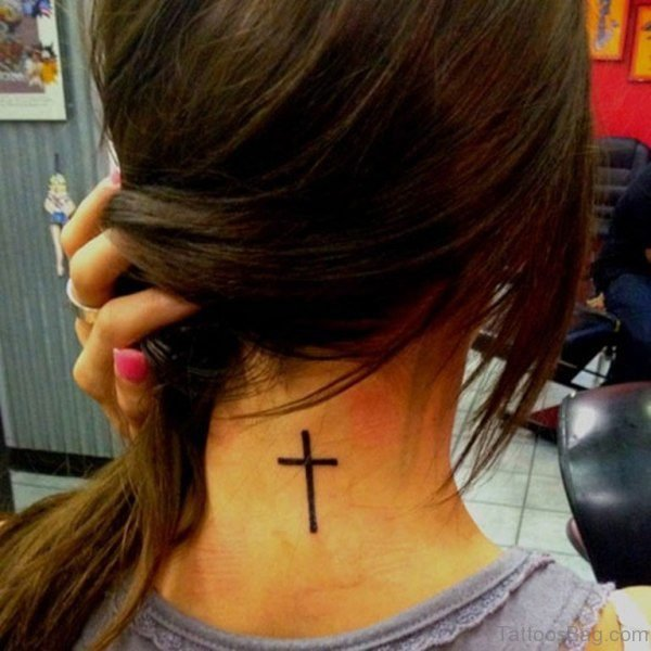 Simple Cross Neck Back Tattoo