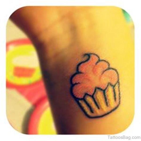 Simple Cupcake Tattoo On Wrist