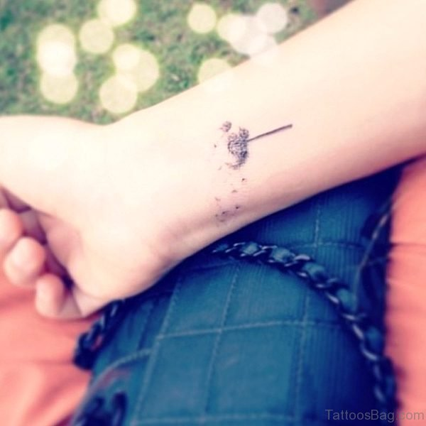 Simple Dandelion Tattoo On Wrist
