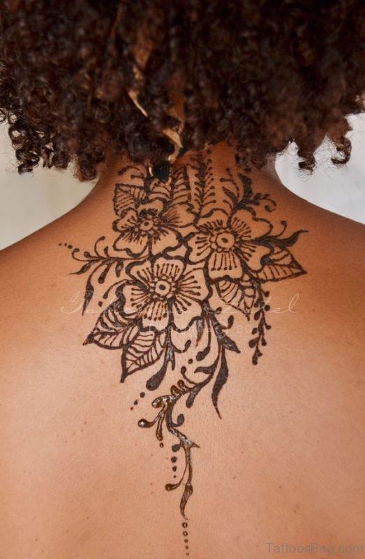 Simple Designer Henna Tattoo On Neck