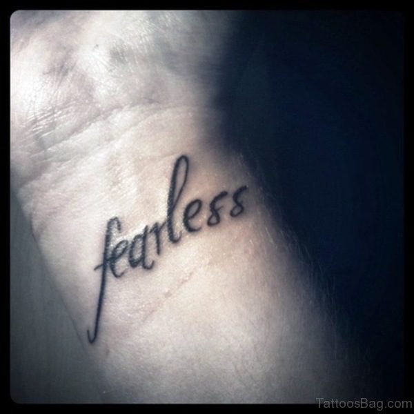 Simple Fearless Wrist Tattoo