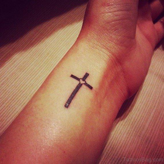 Simple Heart Cross Tatto On Inner Wrist