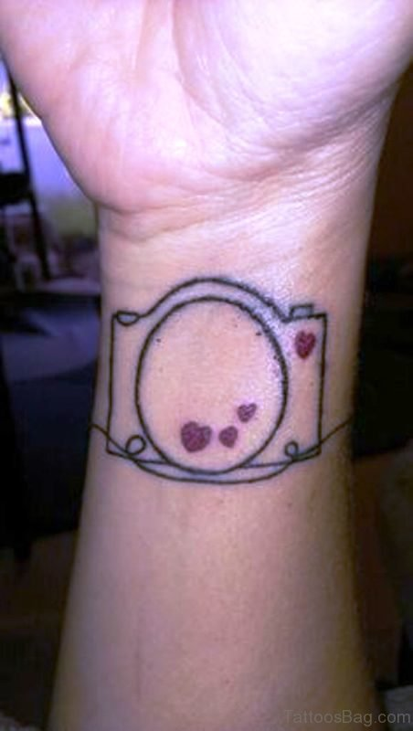 Simple Heart Design Camera Tattoo