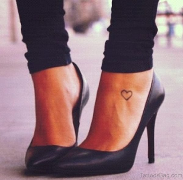 Simple Heart Foot Tattoo