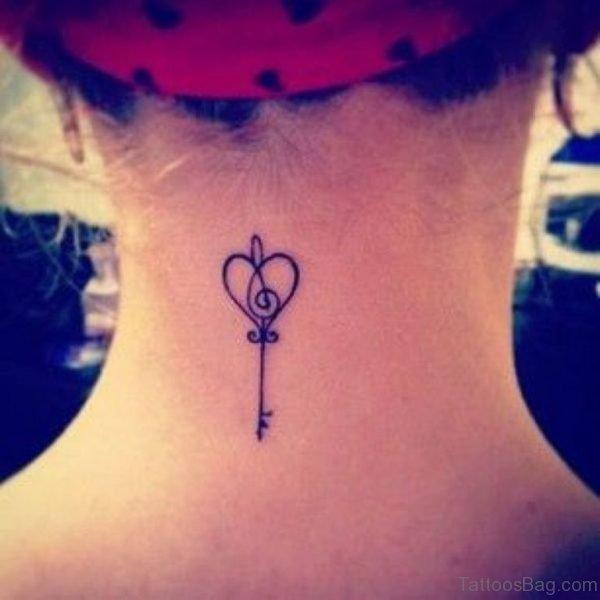 Simple Key Tattoo On Neck