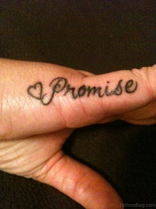 Simple Promise Tattoo On Small Finger