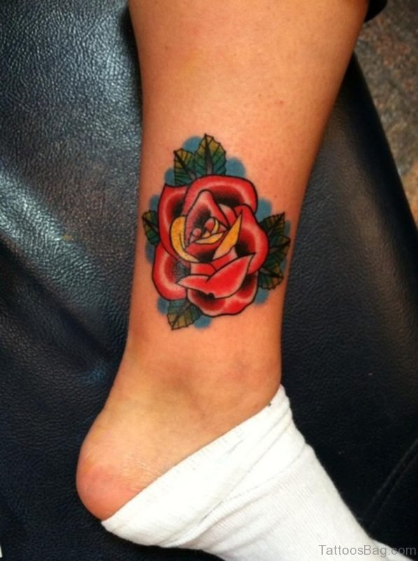 Simple Red Rose Tattoo On Leg