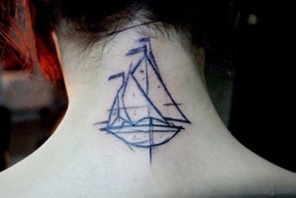 Simple Ship Tattoo On Neck