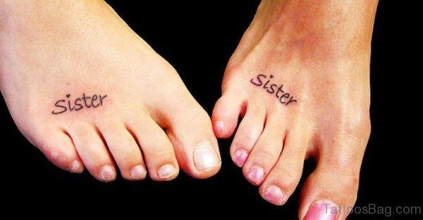 Simple Sister Tattoo On Foot