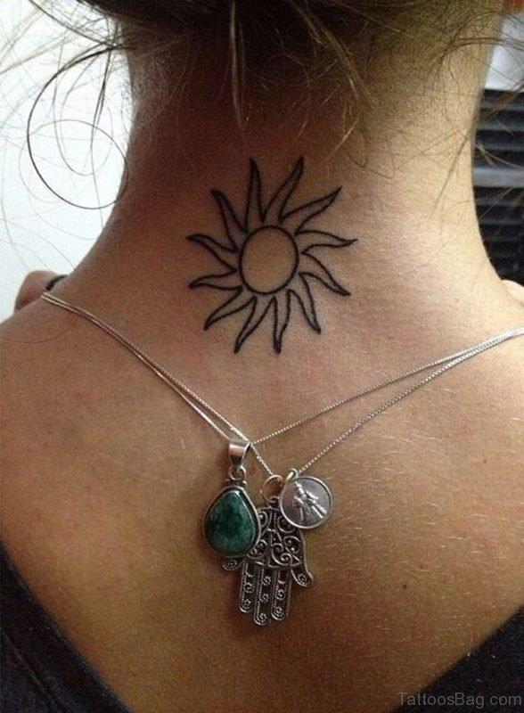 Simple Sun Tattoo On Neck