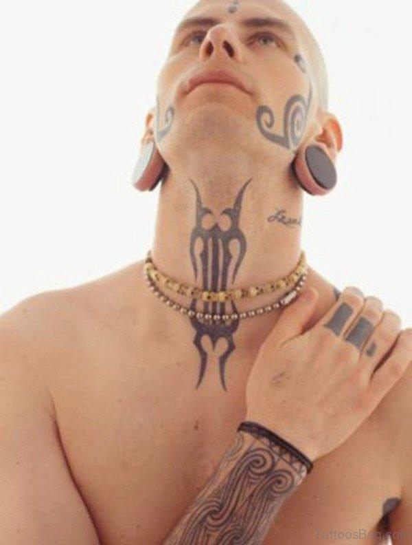 Simple Tribal Neck Tattoo