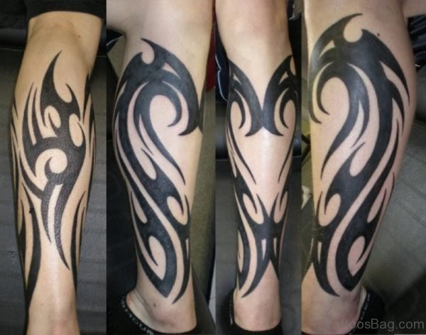 Simple Tribal Tattoo On Leg