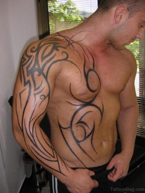 Simple Tribal Tattoo On chest