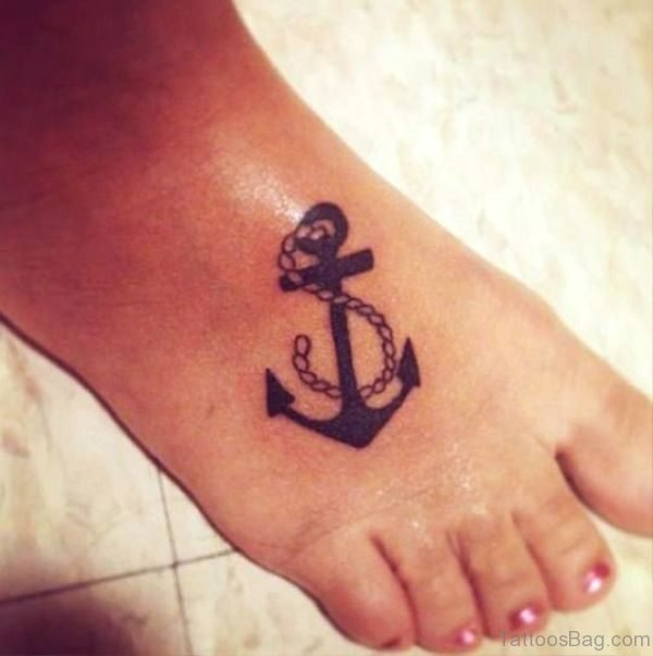 Simply Amazing Anchor Tattoo On Foot