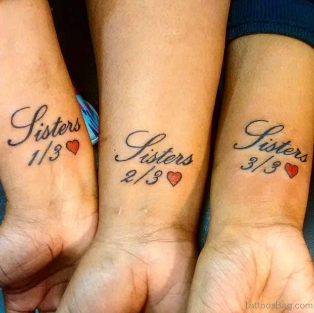 25 splendid sister tattoos on wrist for Sister tattoos for 3