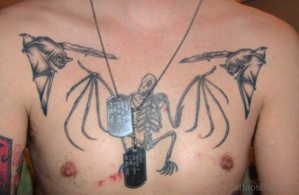 Skeleton With Flying Bats Tattoo On Chest