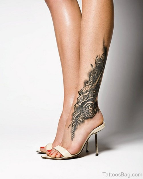 Sketch Dragon Ankle Tattoo