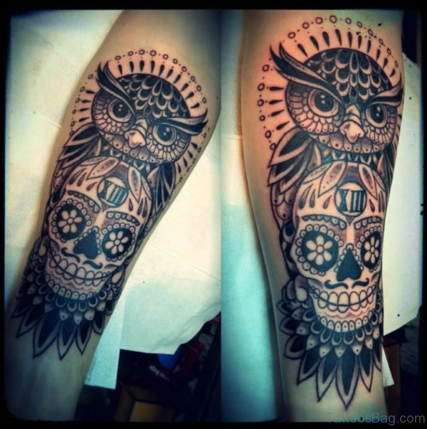 Skull Amd Owl Tattoo On Leg