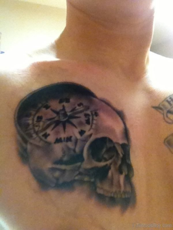 Skull And Compass Tattoo On chest