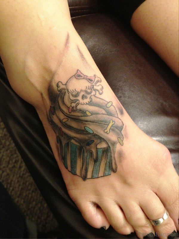 Skull And Cupcake Tattoo On Foot