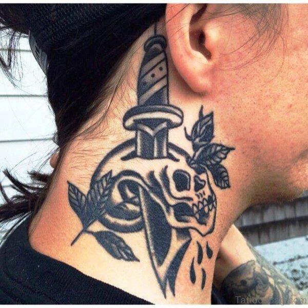 Skull And Dagger Neck Tattoo