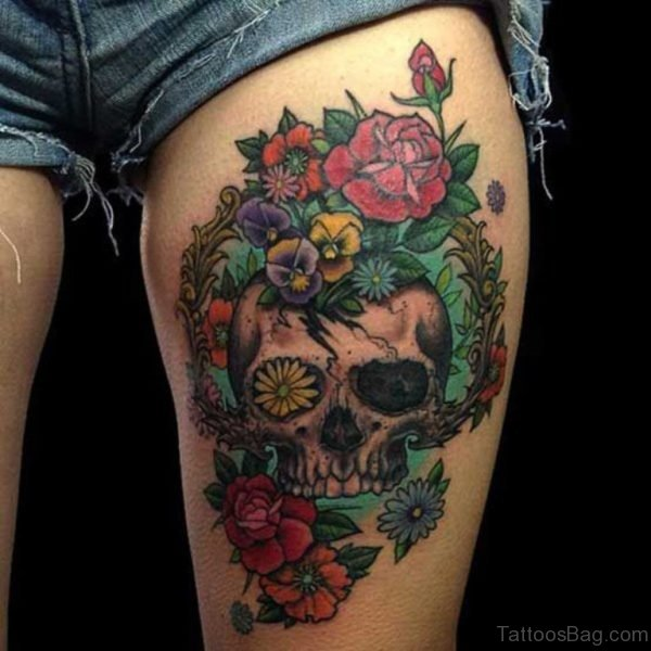 Skull And Flower Tattoo On Thigh