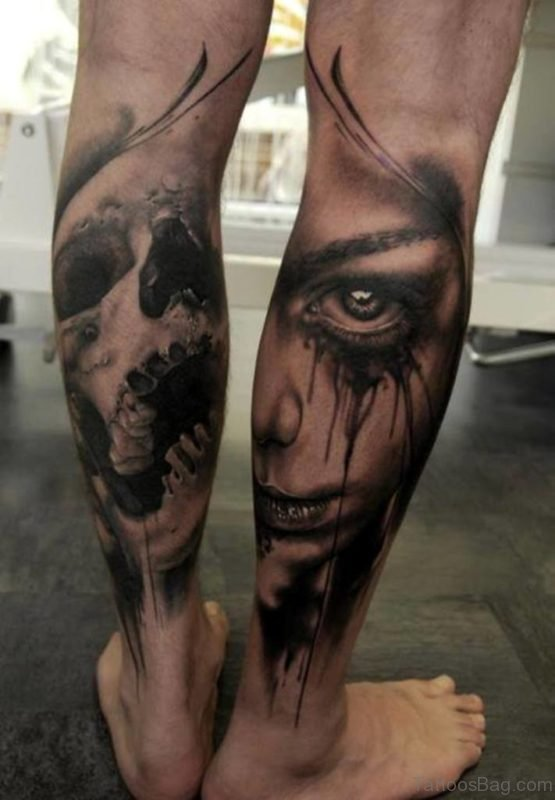 Skull And Girl Face Tattoo