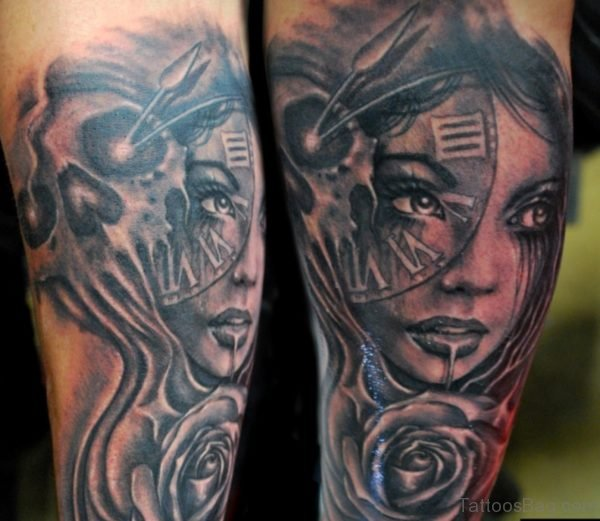 Skull And Girl Portrait Tattoo On Arm
