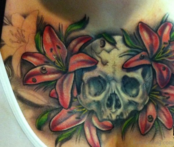 Skull And Lily Flower Tattoo On Chest