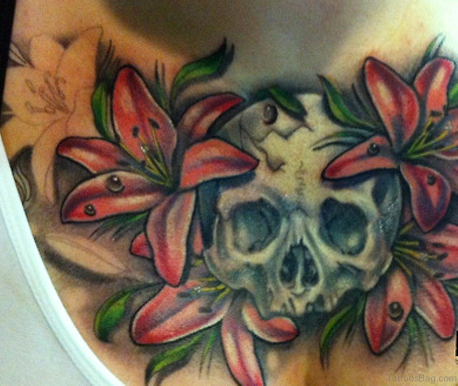50 classic flowers tattoos for chest for Skull and flowers tattoos