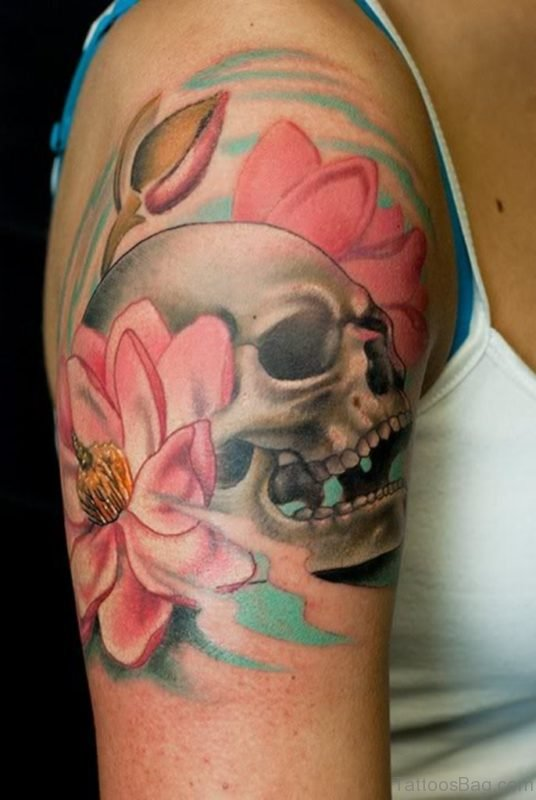 Skull And Magnolia Tattoo