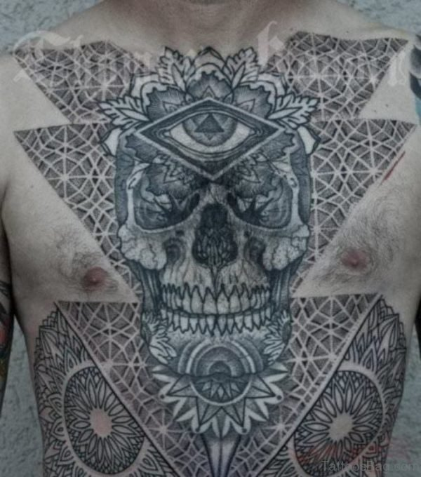 Skull And Mandala Tattoo On Chest