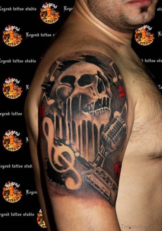 Skull And Music Tattoo