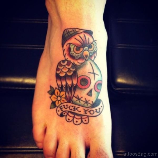 Skull And Owl Tattoo On Foot