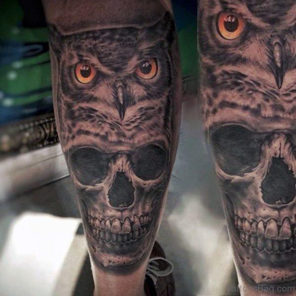 Skull And Owl Tattoo On Leg