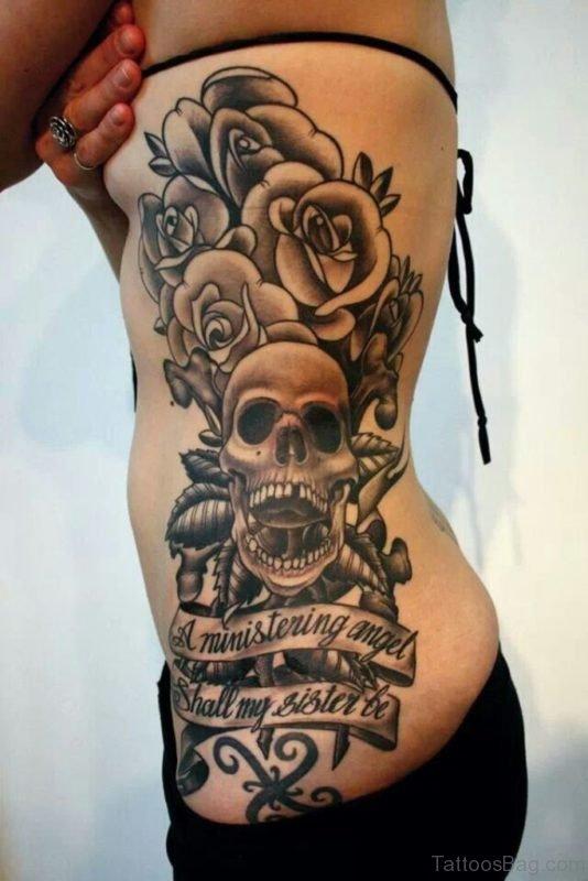 Skull And Rose Tattoo On Rib