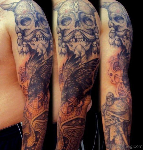 Skull Bird And Viking Warrior Tattoo