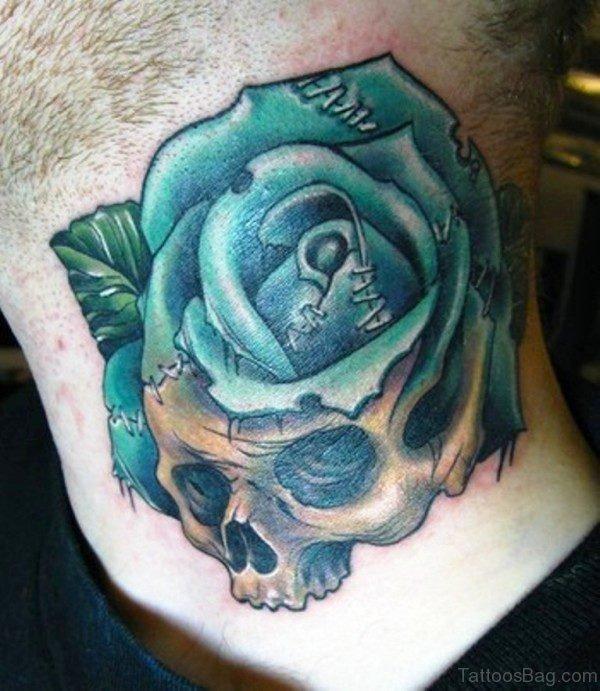 Skull Blue Rose Neck Tattoo