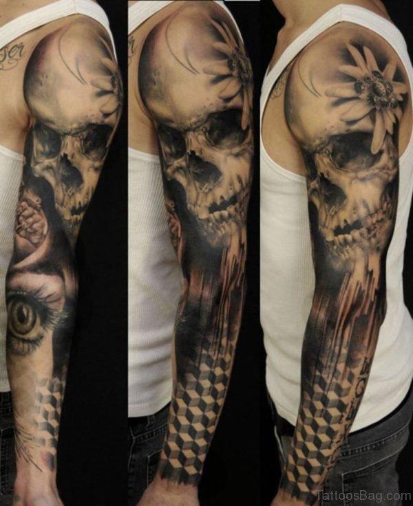 Skull Full Sleeve Tattoo
